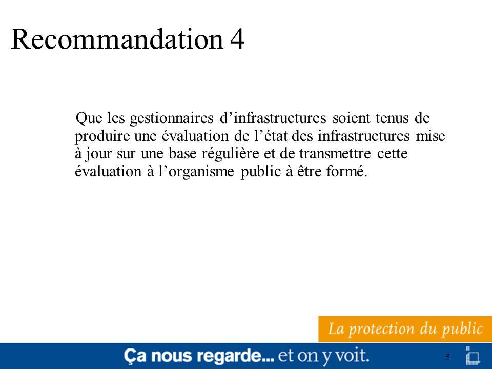 6 Recommandation 5 Que le rôle et les responsabilités des ressources techniques et professionnelles, notamment les ingénieurs, dont devront se doter les municipalités, soient inscrits dans les lois qui définissent et encadrent les devoirs, responsabilités et pouvoirs des municipalités.