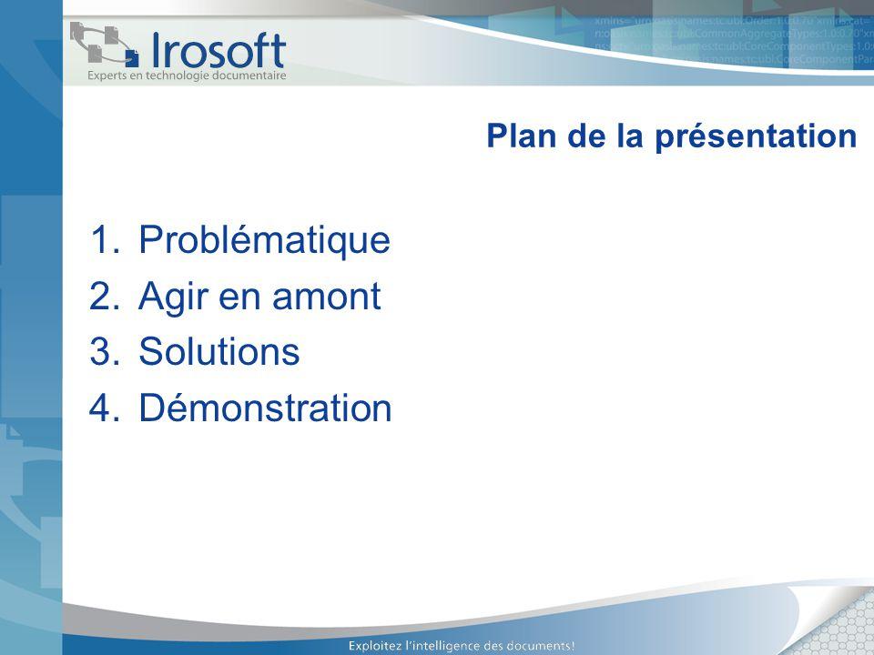 Plan de la présentation 1.Problématique 2.Agir en amont 3.Solutions 4.Démonstration
