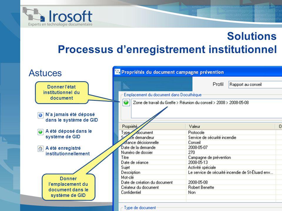 Solutions Processus denregistrement institutionnel Astuces Donner létat institutionnel du document Donner lemplacement du document dans le système de