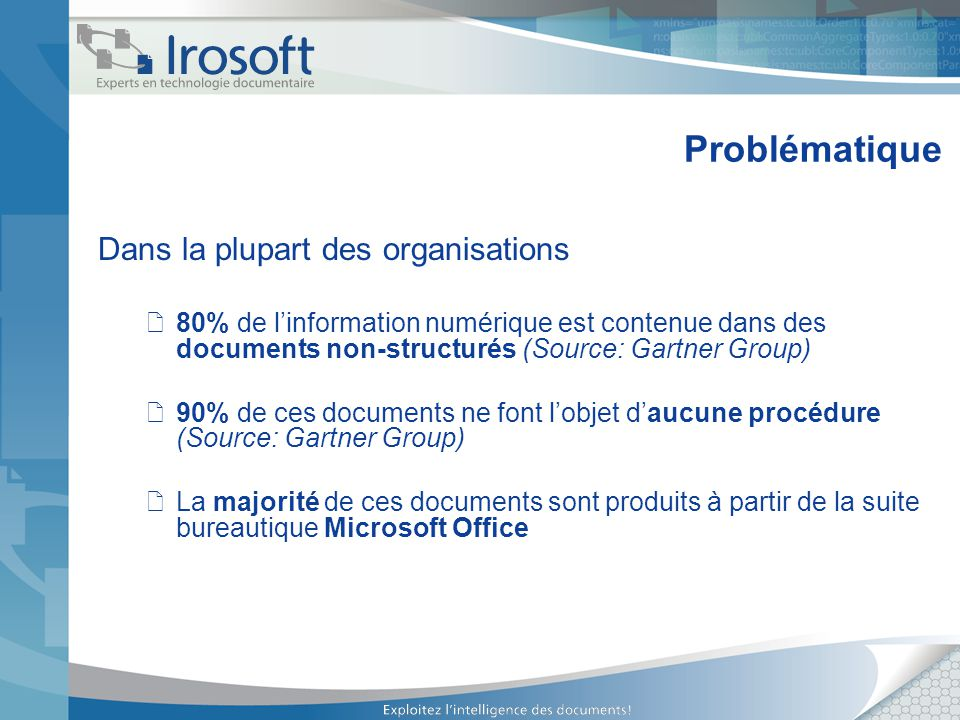 Problématique Dans la plupart des organisations 80% de linformation numérique est contenue dans des documents non-structurés (Source: Gartner Group) 9