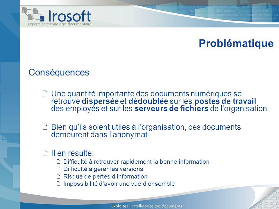 Problématique Conséquences Une quantité importante des documents numériques se retrouve dispersée et dédoublée sur les postes de travail des employés