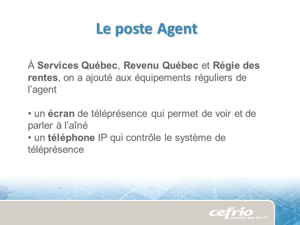 Le poste Agent À Services Québec, Revenu Québec et Régie des rentes, on a ajouté aux équipements réguliers de lagent un écran de téléprésence qui permet de voir et de parler à laîné un téléphone IP qui contrôle le système de téléprésence