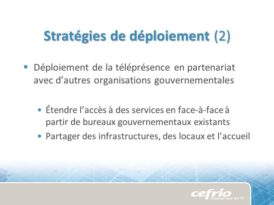 Stratégies de déploiement (2) Déploiement de la téléprésence en partenariat avec dautres organisations gouvernementales Étendre laccès à des services en face-à-face à partir de bureaux gouvernementaux existants Partager des infrastructures, des locaux et laccueil