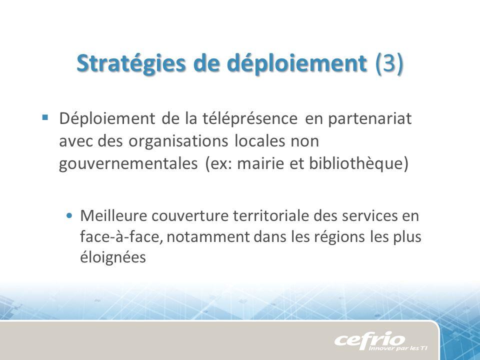 Stratégies de déploiement (3) Déploiement de la téléprésence en partenariat avec des organisations locales non gouvernementales (ex: mairie et bibliothèque) Meilleure couverture territoriale des services en face-à-face, notamment dans les régions les plus éloignées