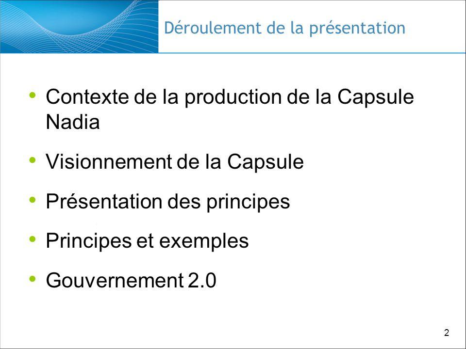 2 Déroulement de la présentation Contexte de la production de la Capsule Nadia Visionnement de la Capsule Présentation des principes Principes et exemples Gouvernement 2.0