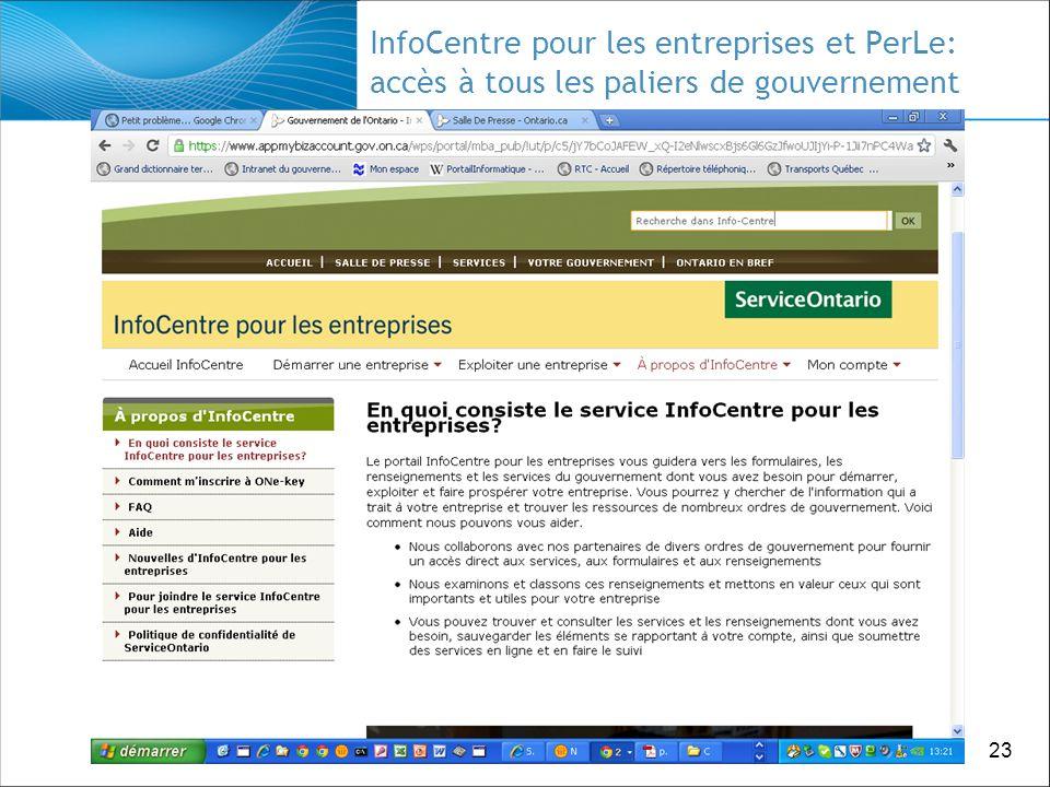 23 InfoCentre pour les entreprises et PerLe: accès à tous les paliers de gouvernement