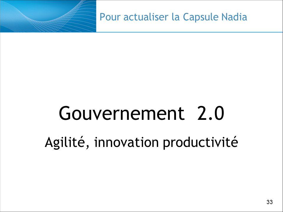 33 Pour actualiser la Capsule Nadia Gouvernement 2.0 Agilité, innovation productivité