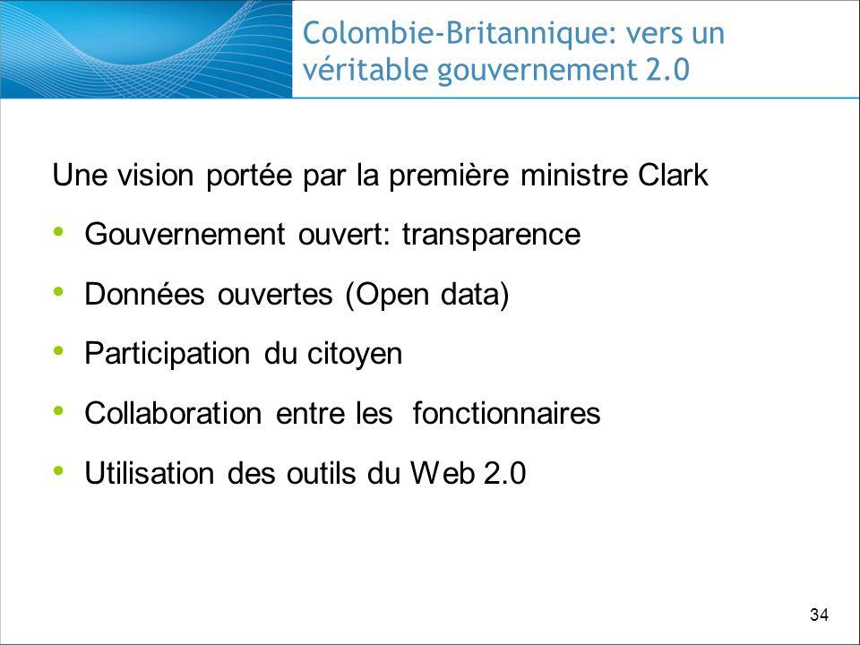 34 Colombie-Britannique: vers un véritable gouvernement 2.0 Une vision portée par la première ministre Clark Gouvernement ouvert: transparence Données ouvertes (Open data) Participation du citoyen Collaboration entre les fonctionnaires Utilisation des outils du Web 2.0
