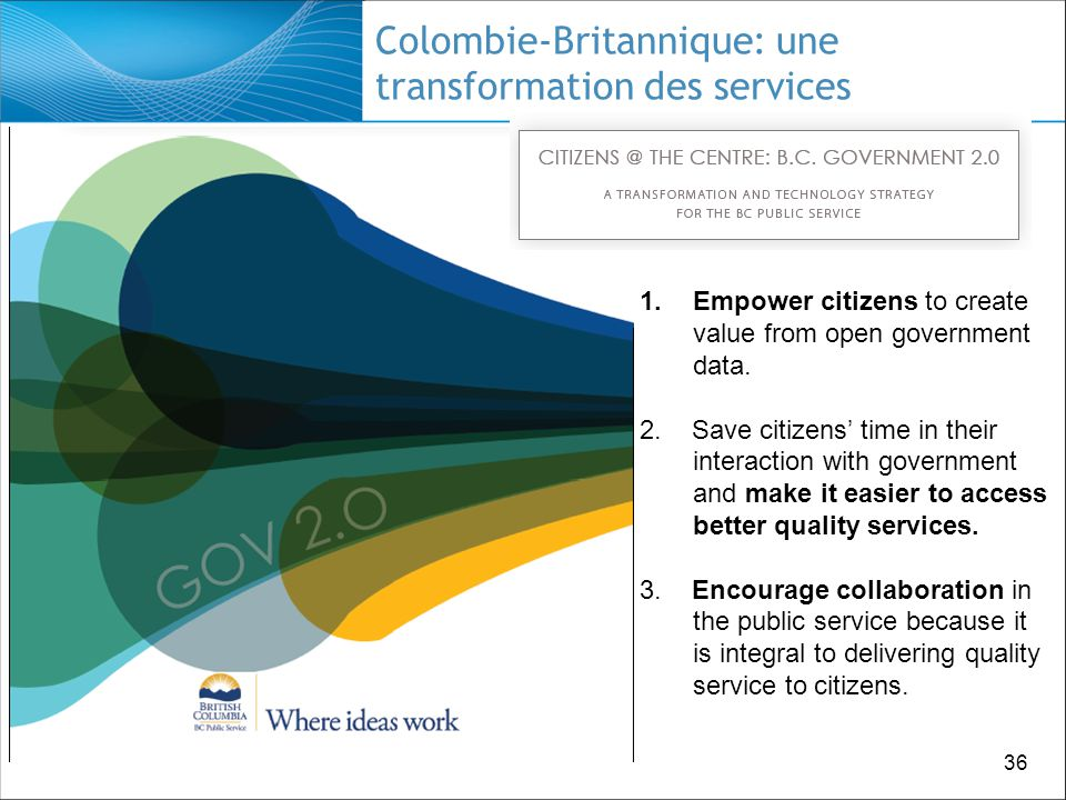 36 Colombie-Britannique: une transformation des services 1.Empower citizens to create value from open government data.