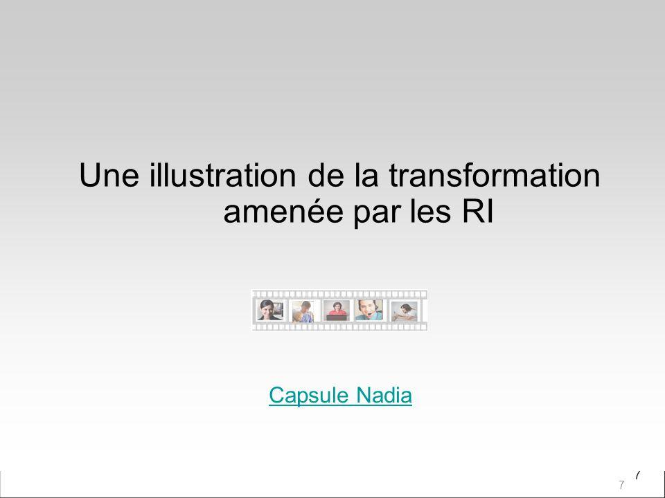 7 Une illustration de la transformation amenée par les RI 7 Capsule Nadia