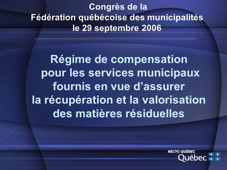 Congrès de la Fédération québécoise des municipalités le 29 septembre 2006 Régime de compensation pour les services municipaux fournis en vue dassurer la récupération et la valorisation des matières résiduelles