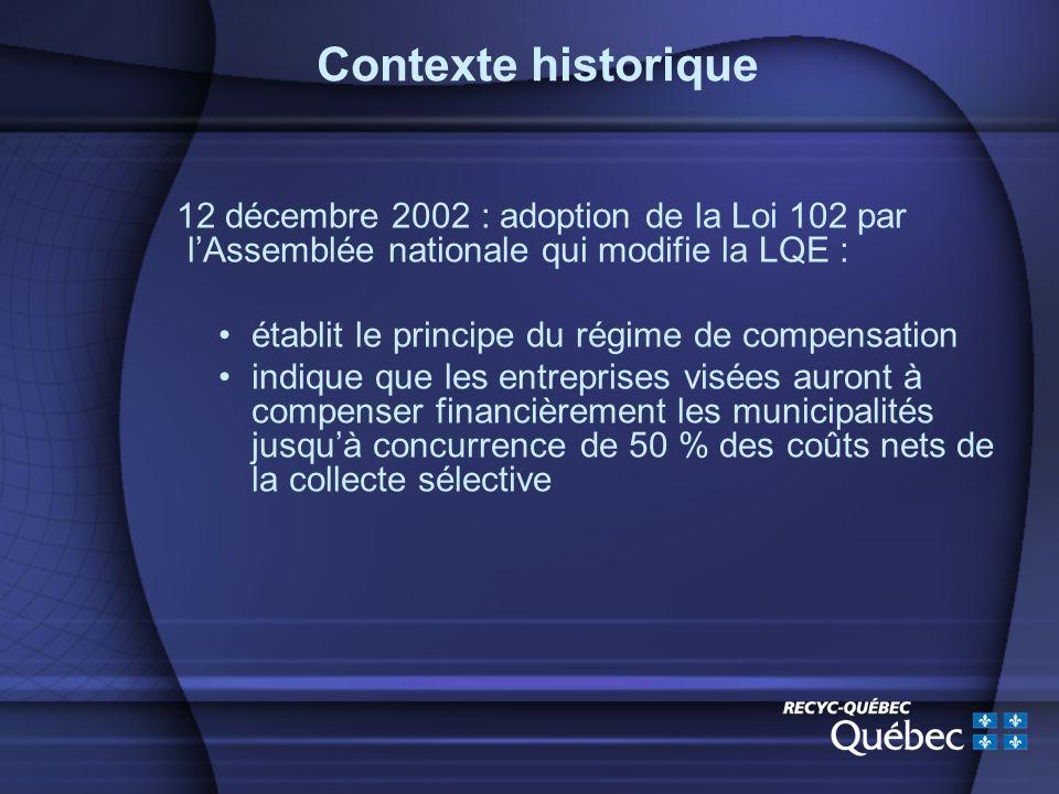 12 décembre 2002 : adoption de la Loi 102 par lAssemblée nationale qui modifie la LQE : établit le principe du régime de compensation indique que les entreprises visées auront à compenser financièrement les municipalités jusquà concurrence de 50 % des coûts nets de la collecte sélective Contexte historique