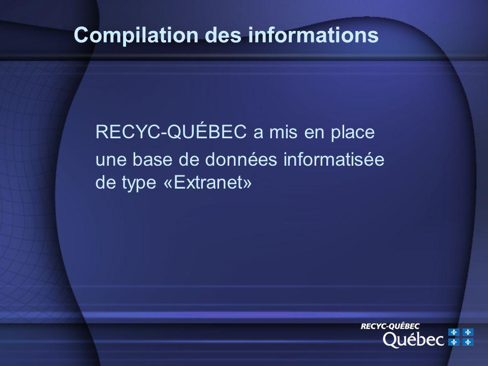 Compilation des informations RECYC-QUÉBEC a mis en place une base de données informatisée de type «Extranet»