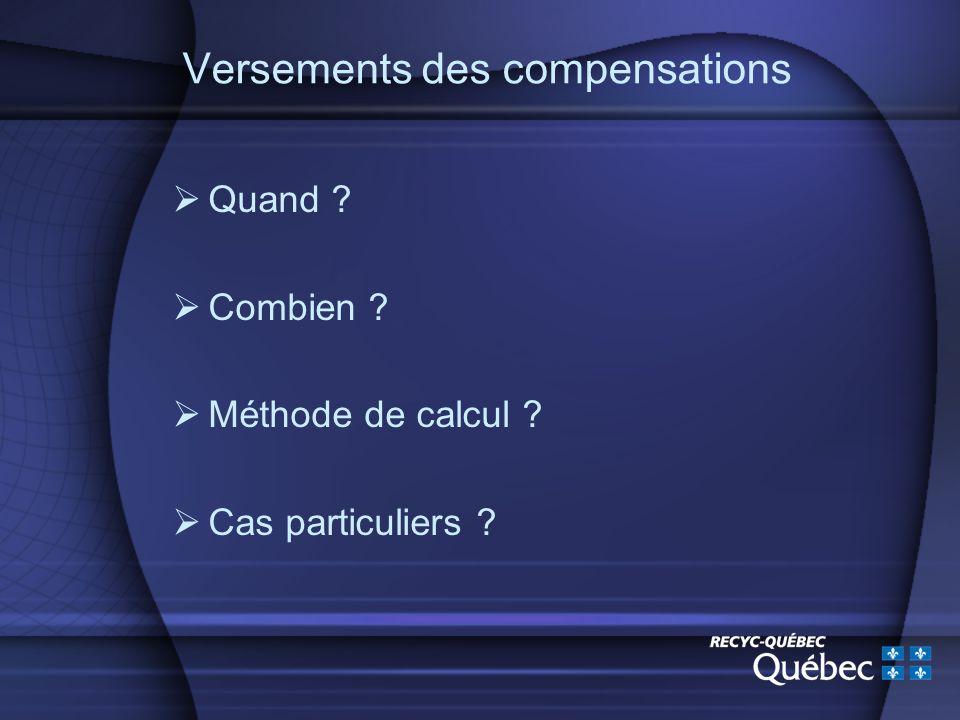 Versements des compensations Quand Combien Méthode de calcul Cas particuliers