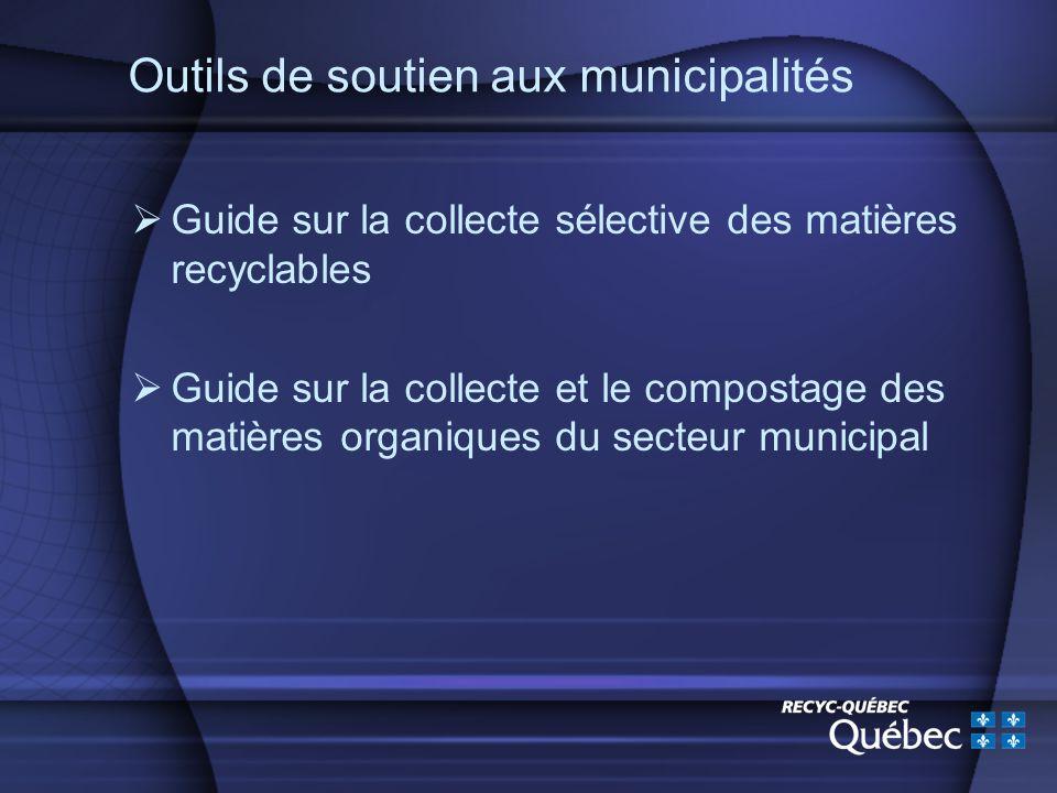 Outils de soutien aux municipalités Guide sur la collecte sélective des matières recyclables Guide sur la collecte et le compostage des matières organiques du secteur municipal