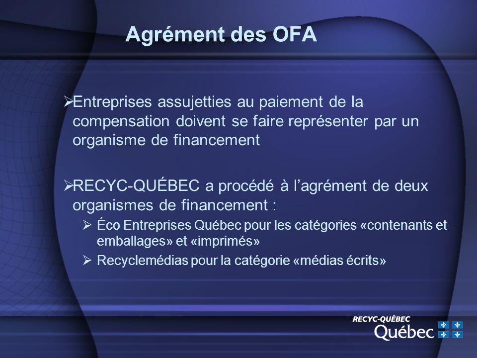 Agrément des OFA Entreprises assujetties au paiement de la compensation doivent se faire représenter par un organisme de financement RECYC-QUÉBEC a procédé à lagrément de deux organismes de financement : Éco Entreprises Québec pour les catégories «contenants et emballages» et «imprimés» Recyclemédias pour la catégorie «médias écrits»