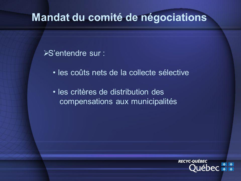 Mandat du comité de négociations Sentendre sur : les coûts nets de la collecte sélective les critères de distribution des compensations aux municipalités
