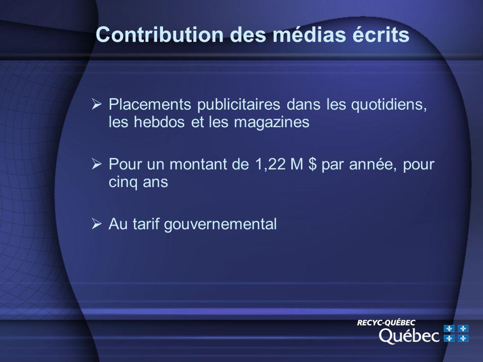 Contribution des médias écrits Placements publicitaires dans les quotidiens, les hebdos et les magazines Pour un montant de 1,22 M $ par année, pour cinq ans Au tarif gouvernemental