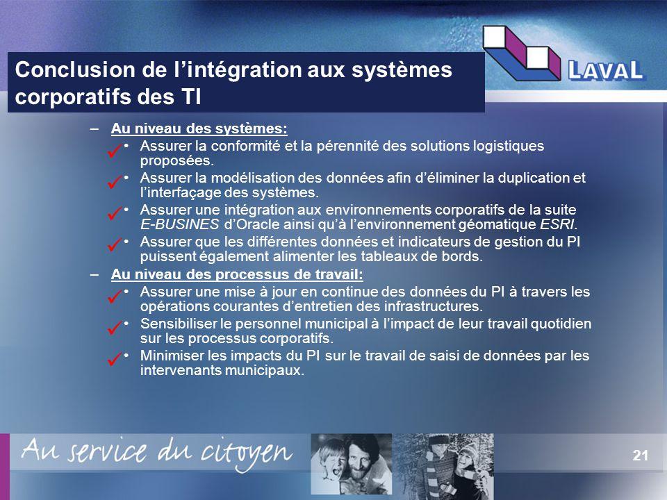 21 –Au niveau des systèmes: Assurer la conformité et la pérennité des solutions logistiques proposées.