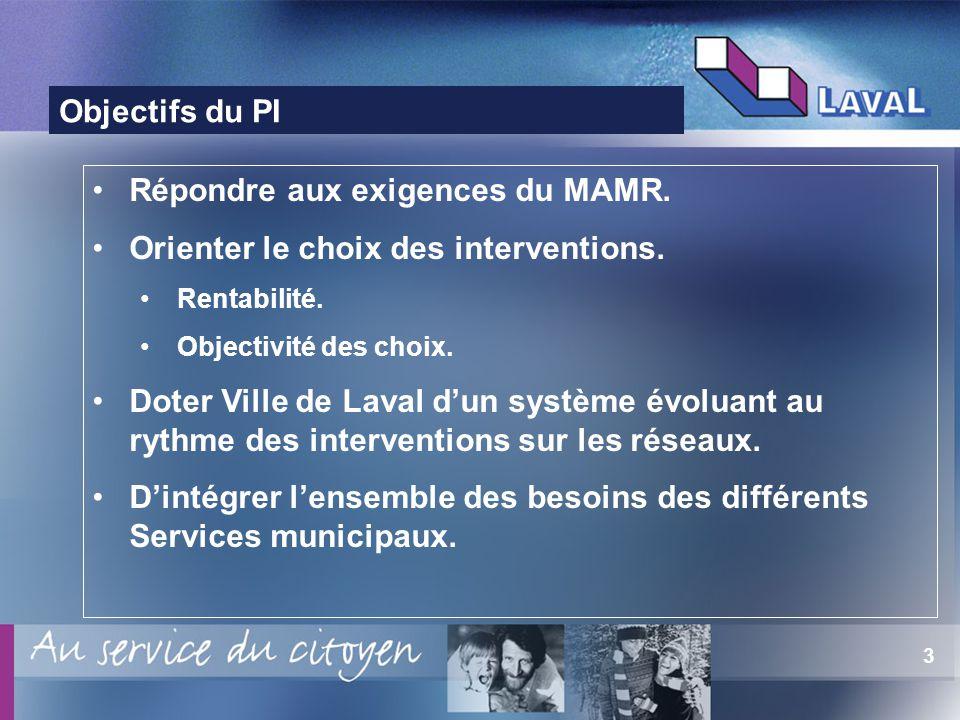 3 Objectifs du PI Répondre aux exigences du MAMR. Orienter le choix des interventions. Rentabilité. Objectivité des choix. Doter Ville de Laval dun sy