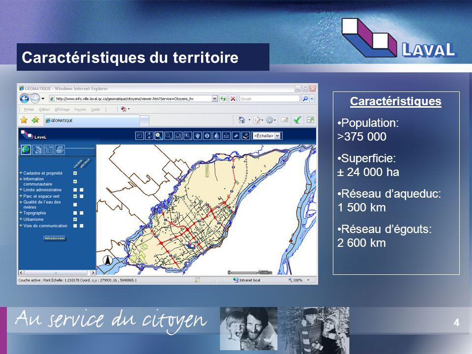 4 Caractéristiques du territoire Caractéristiques Population: >375 000 Superficie: ± 24 000 ha Réseau daqueduc: 1 500 km Réseau dégouts: 2 600 km