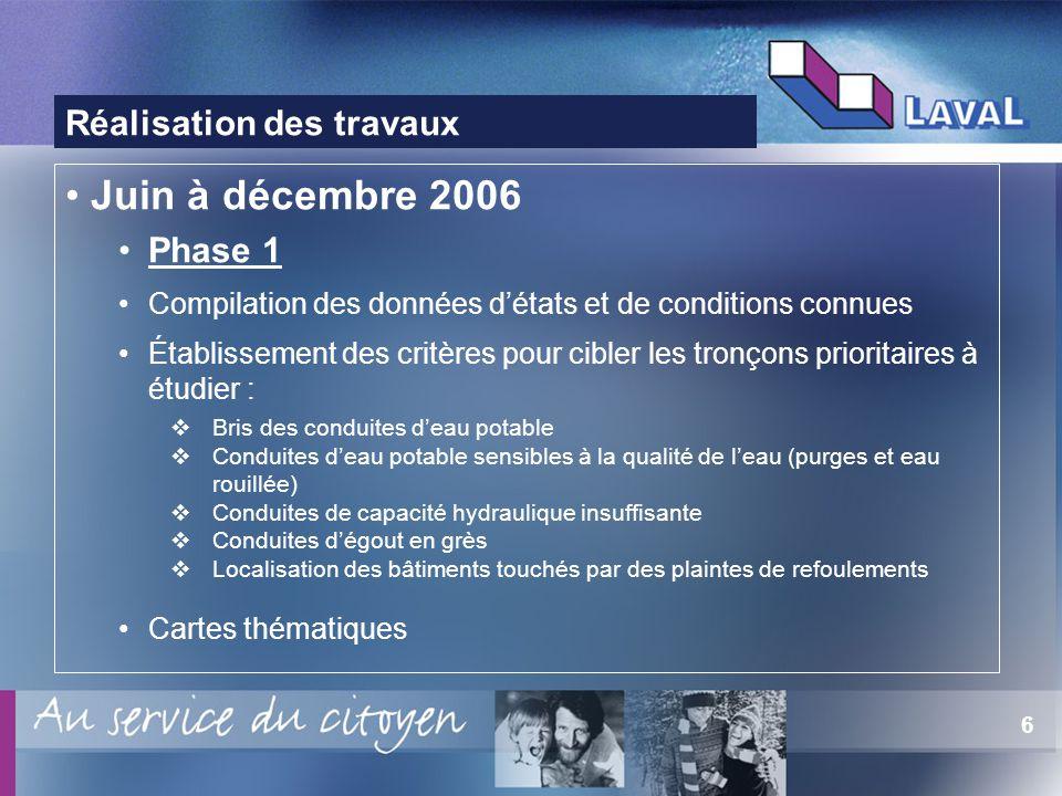 6 Réalisation des travaux Juin à décembre 2006 Phase 1 Compilation des données détats et de conditions connues Établissement des critères pour cibler