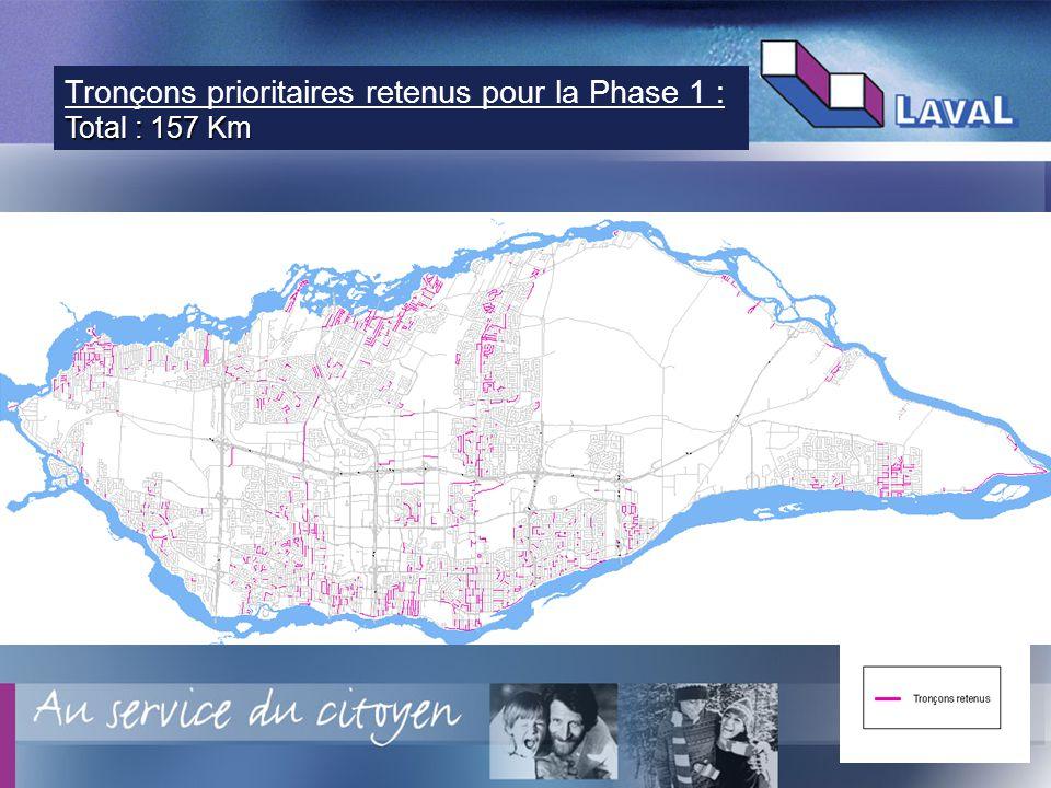 9 Tronçons prioritaires retenus pour la Phase 1 : Total : 157 Km