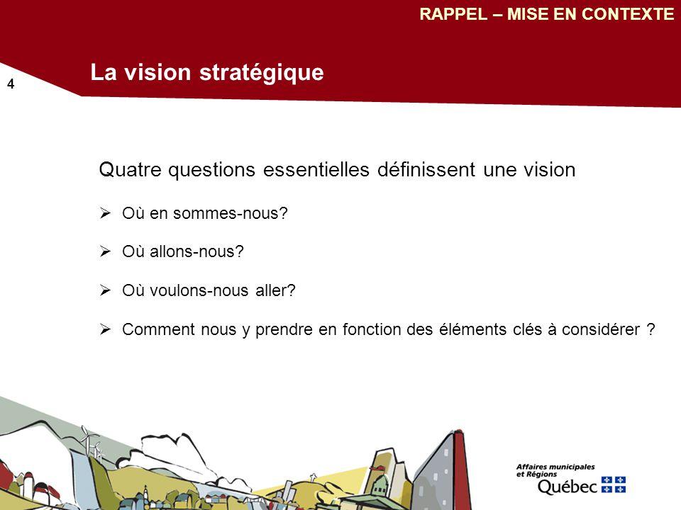 4 La vision stratégique Quatre questions essentielles définissent une vision Où en sommes-nous.