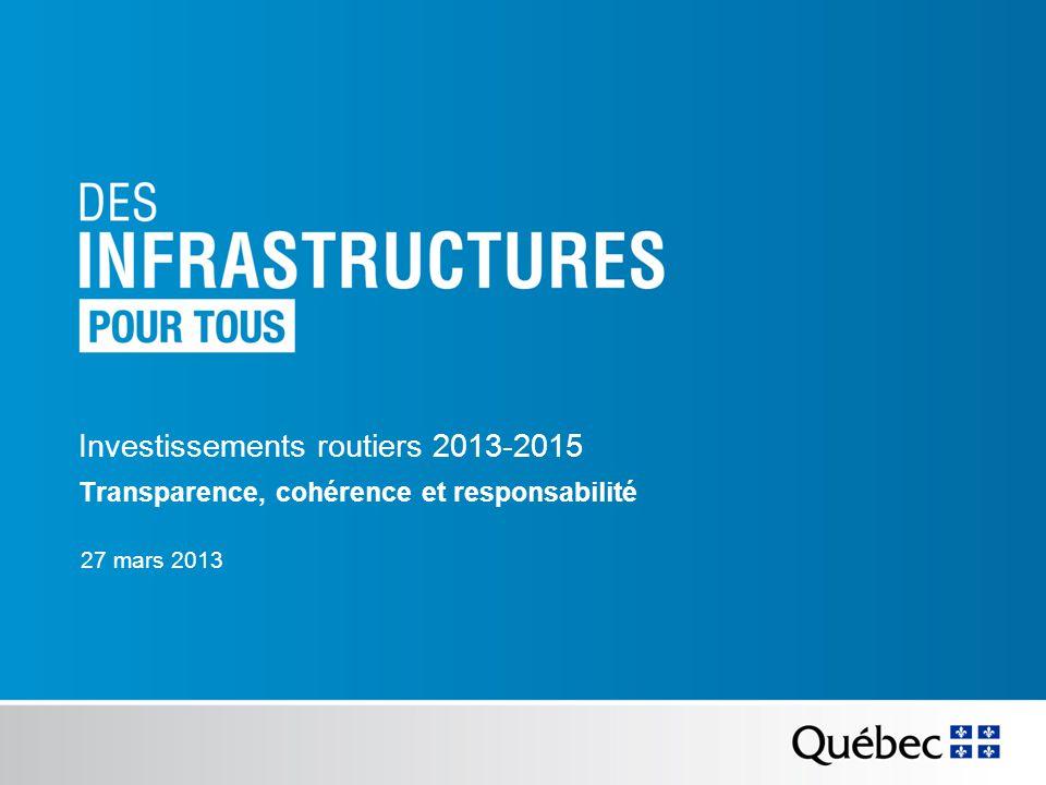 27 mars 2013 Investissements routiers 2013-2015 Transparence, cohérence et responsabilité