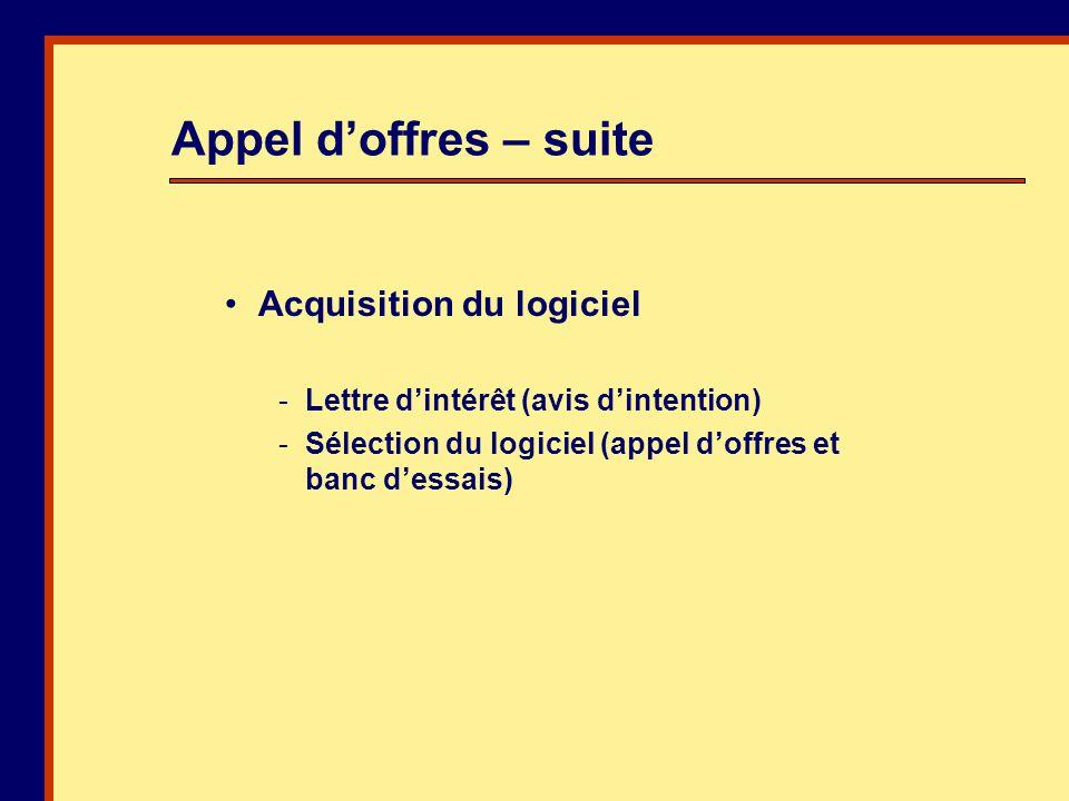 Acquisition du logiciel -Lettre dintérêt (avis dintention) -Sélection du logiciel (appel doffres et banc dessais) Appel doffres – suite
