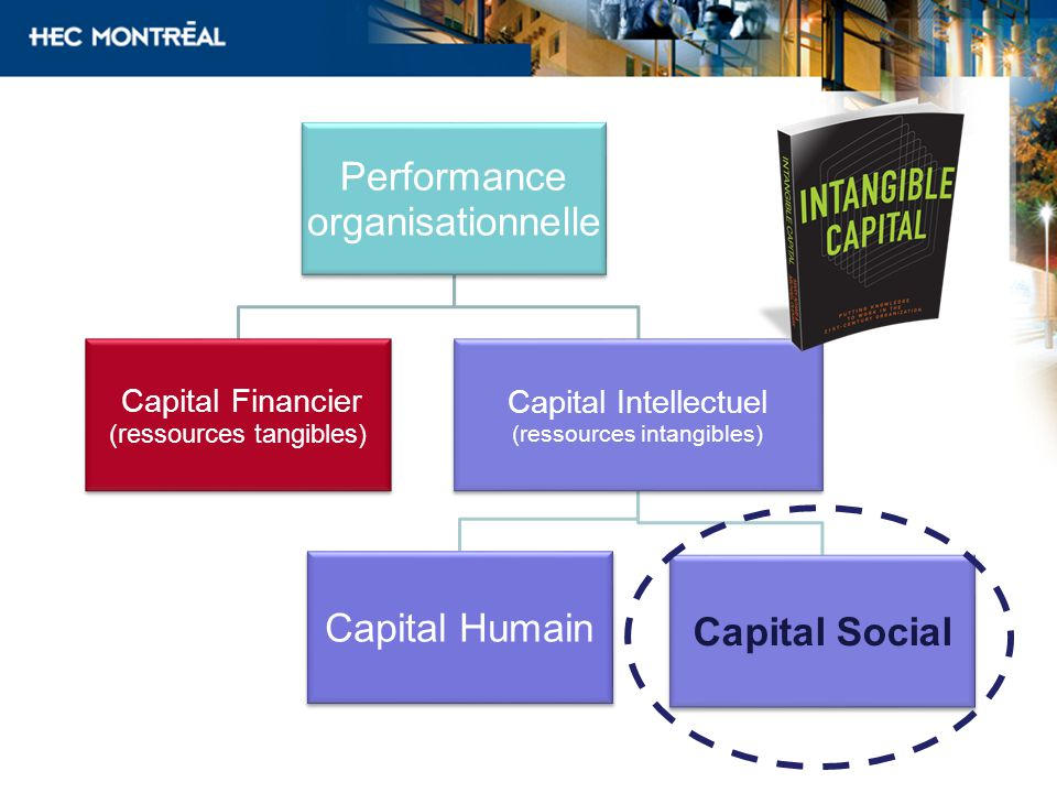 Performance organisationnelle Capital Financier (ressources tangibles) Capital Intellectuel (ressources intangibles) Capital Humain Capital Social