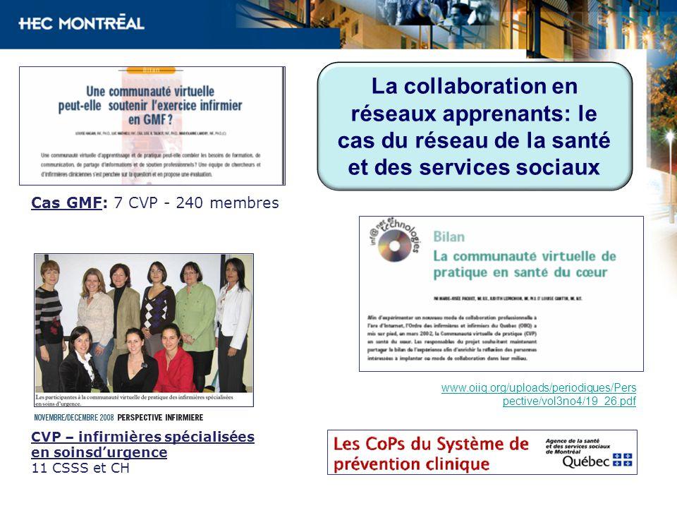 CVP – infirmières spécialisées en soinsdurgence 11 CSSS et CH Cas GMF: 7 CVP - 240 membres www.oiiq.org/uploads/periodiques/Pers pective/vol3no4/19_26.pdf La collaboration en réseaux apprenants: le cas du réseau de la santé et des services sociaux