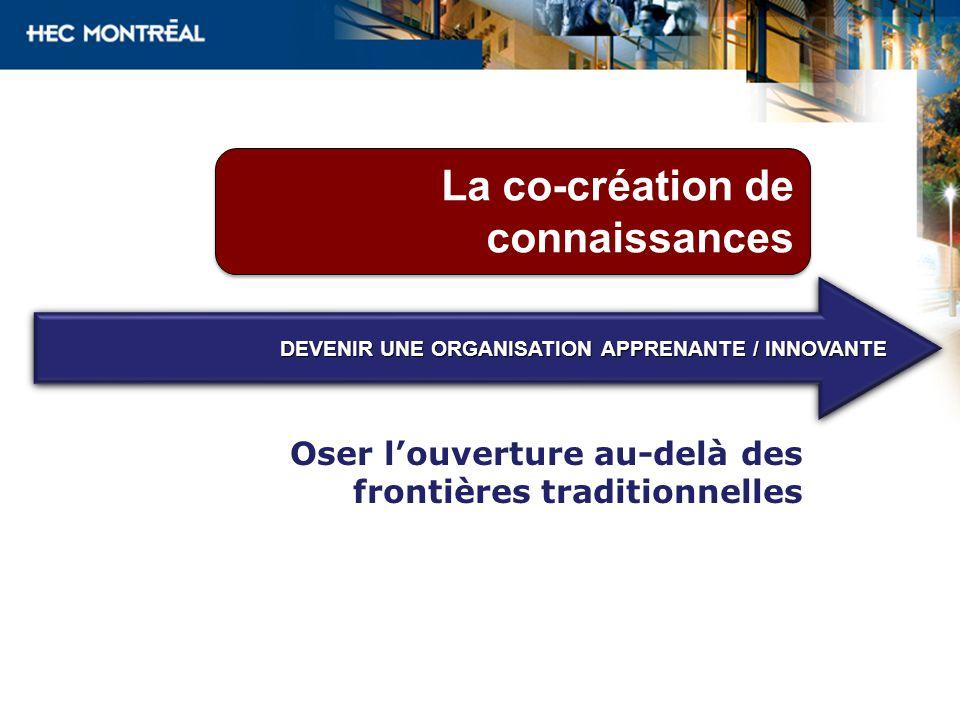 La co-création de connaissances Oser louverture au-delà des frontières traditionnelles DEVENIR UNE ORGANISATION APPRENANTE / INNOVANTE