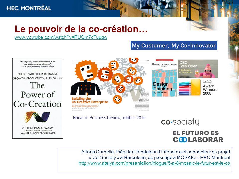 Le pouvoir de la co-création… www.youtube.com/watch?v=RUQm7cTudqw www.youtube.com/watch?v=RUQm7cTudqw Alfons Cornella, Président fondateur dInfonomia et concepteur du projet « Co-Society » à Barcelone, de passage à MOSAIC – HEC Montréal http://www.atelya.com/presentation/blogue/5-a-8-mosaic-le-futur-est-le-co Harvard Business Review, october, 2010