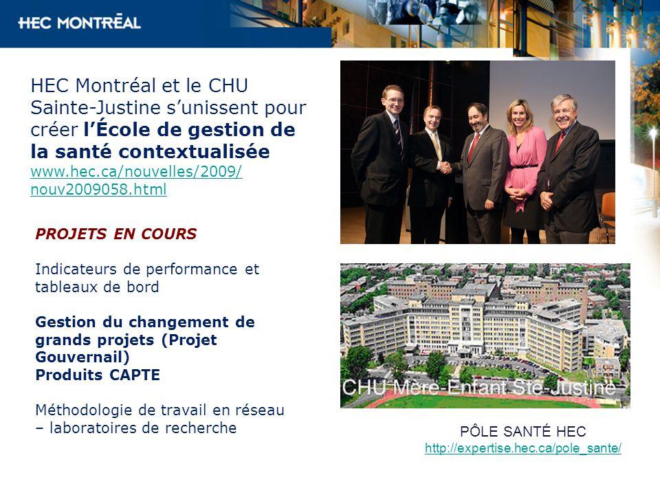 HEC Montréal et le CHU Sainte-Justine sunissent pour créer lÉcole de gestion de la santé contextualisée www.hec.ca/nouvelles/2009/ nouv2009058.html PROJETS EN COURS Indicateurs de performance et tableaux de bord Gestion du changement de grands projets (Projet Gouvernail) Produits CAPTE Méthodologie de travail en réseau – laboratoires de recherche PÔLE SANTÉ HEC http://expertise.hec.ca/pole_sante/