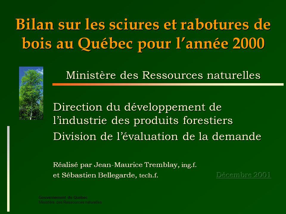Gouvernement du Québec Ministère des Ressources naturelles Bilan sur les sciures et rabotures de bois au Québec pour lannée 2000