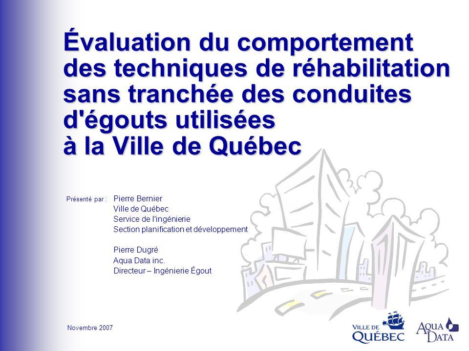 Évaluation du comportement des techniques de réhabilitation sans tranchéedes conduites d'égouts utilisées à la Ville de Québec Évaluation du comportem