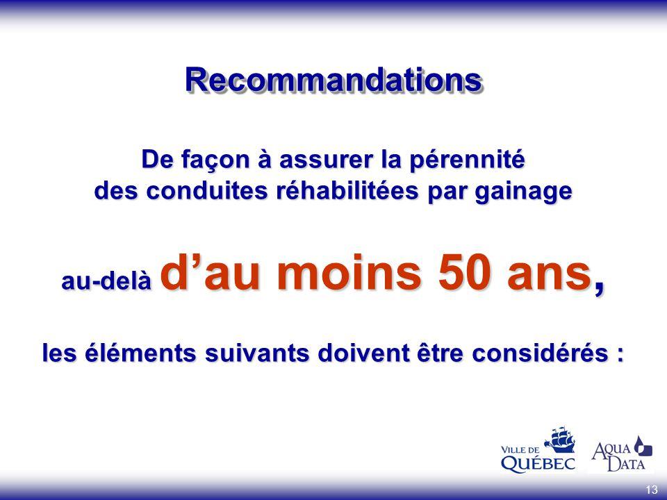 13 RecommandationsRecommandations De façon à assurer la pérennité des conduites réhabilitées par gainage au-delà dau moins 50 ans, les éléments suivan