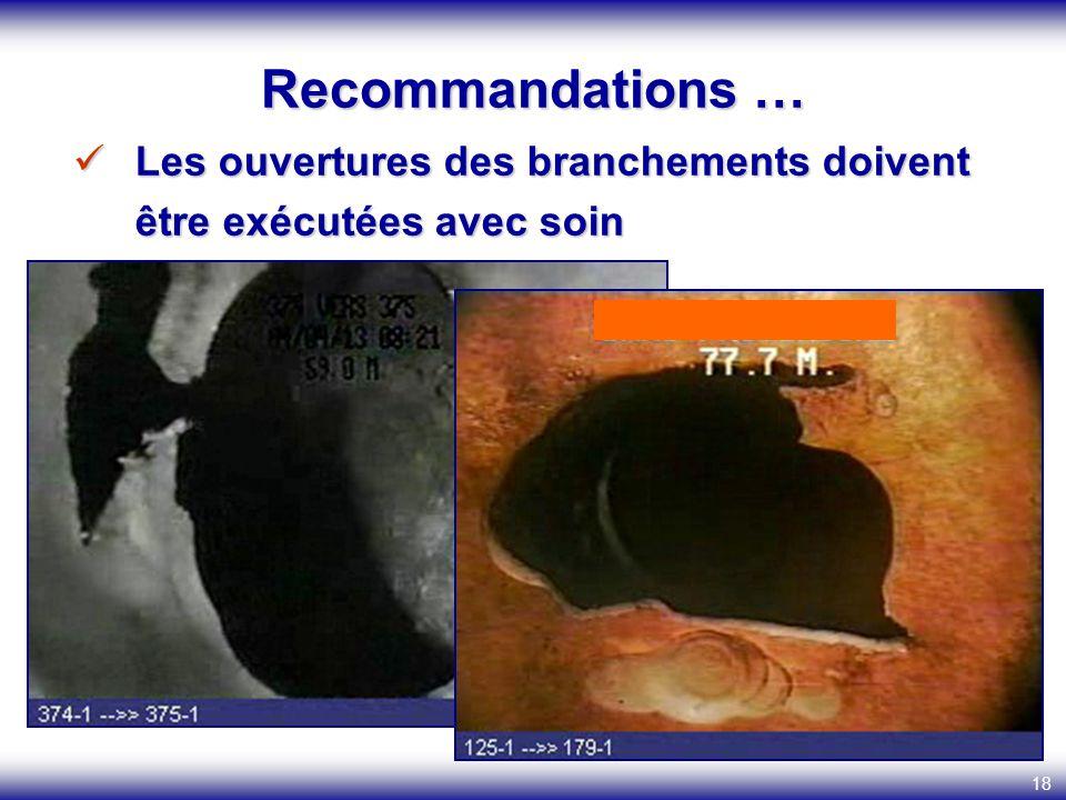 18 Les ouvertures des branchements doivent être exécutées avec soin Les ouvertures des branchements doivent être exécutées avec soin Recommandations …