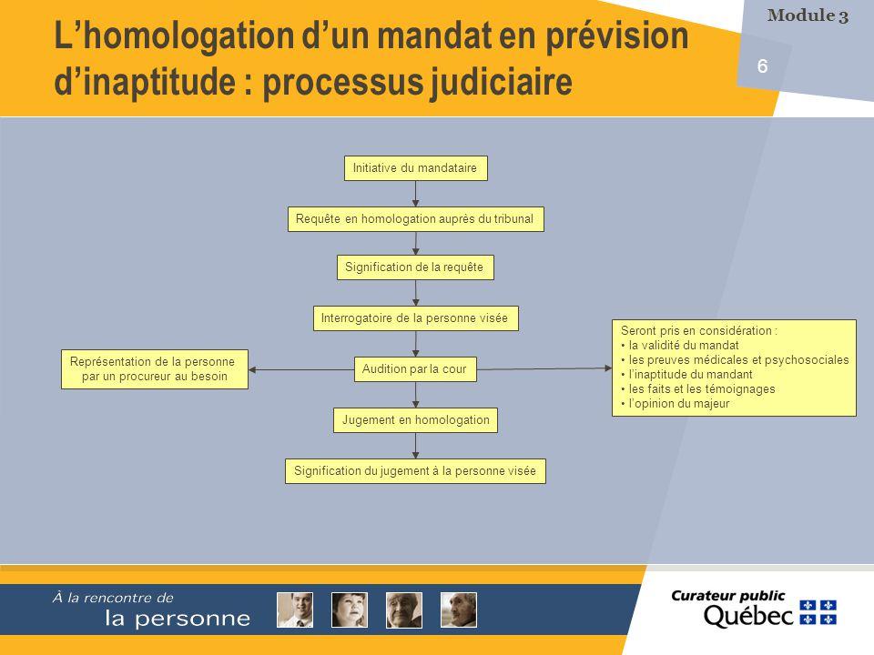 7 Les évaluations médicale et psychosociale en vue dune demande dhomologation dun mandat en prévision de linaptitude font partie de loffre de service des établissements.