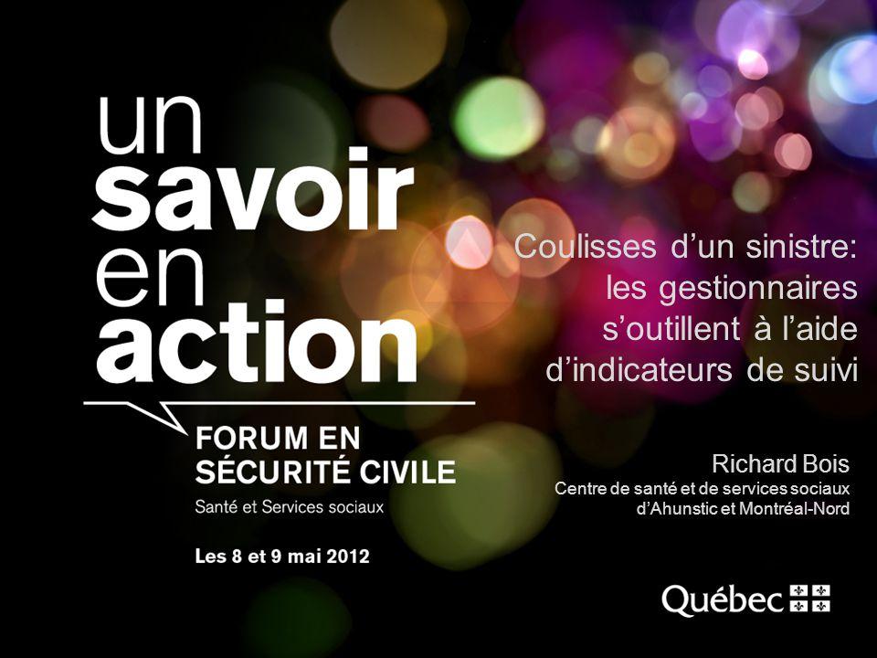Coulisses dun sinistre: les gestionnaires soutillent à laide dindicateurs de suivi Richard Bois Centre de santé et de services sociaux dAhunstic et Montréal-Nord