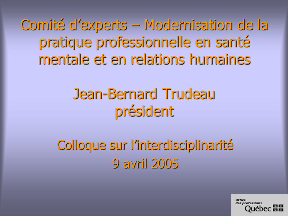 Comité dexperts – Modernisation de la pratique professionnelle en santé mentale et en relations humaines Jean-Bernard Trudeau président Colloque sur linterdisciplinarité 9 avril 2005