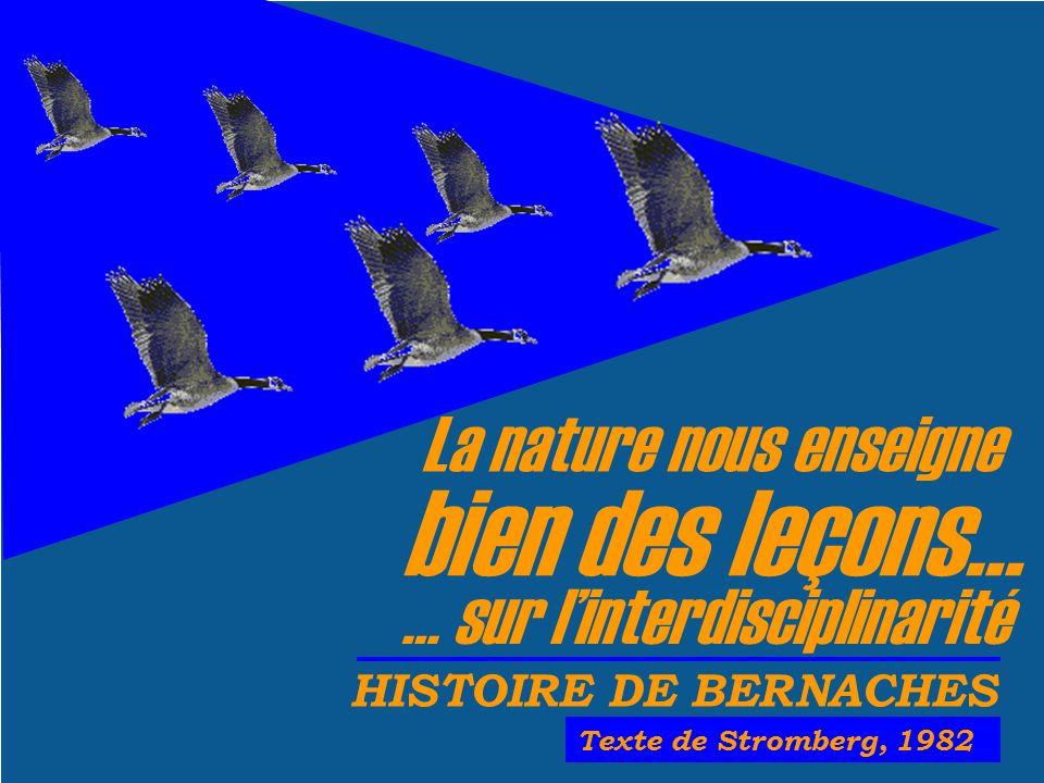 La nature nous enseigne bien des leçons… HISTOIRE DE BERNACHES Texte de Stromberg, 1982 … sur linterdisciplinarité
