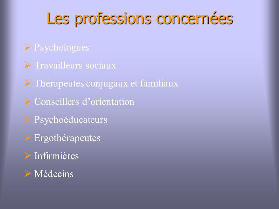 Les professions concernées Psychologues Travailleurs sociaux Thérapeutes conjugaux et familiaux Conseillers dorientation Psychoéducateurs Ergothérapeutes Infirmières Médecins