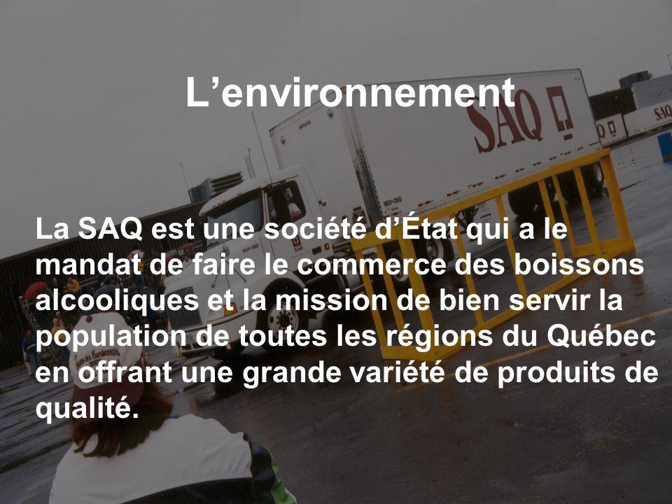 Lenvironnement (suite) La SAQ en quelques chiffres 5 188 employés, dont 2739 réguliers 1 2 sites administratifs à Montréal et à Québec 3 80 succursales à travers le Québec.