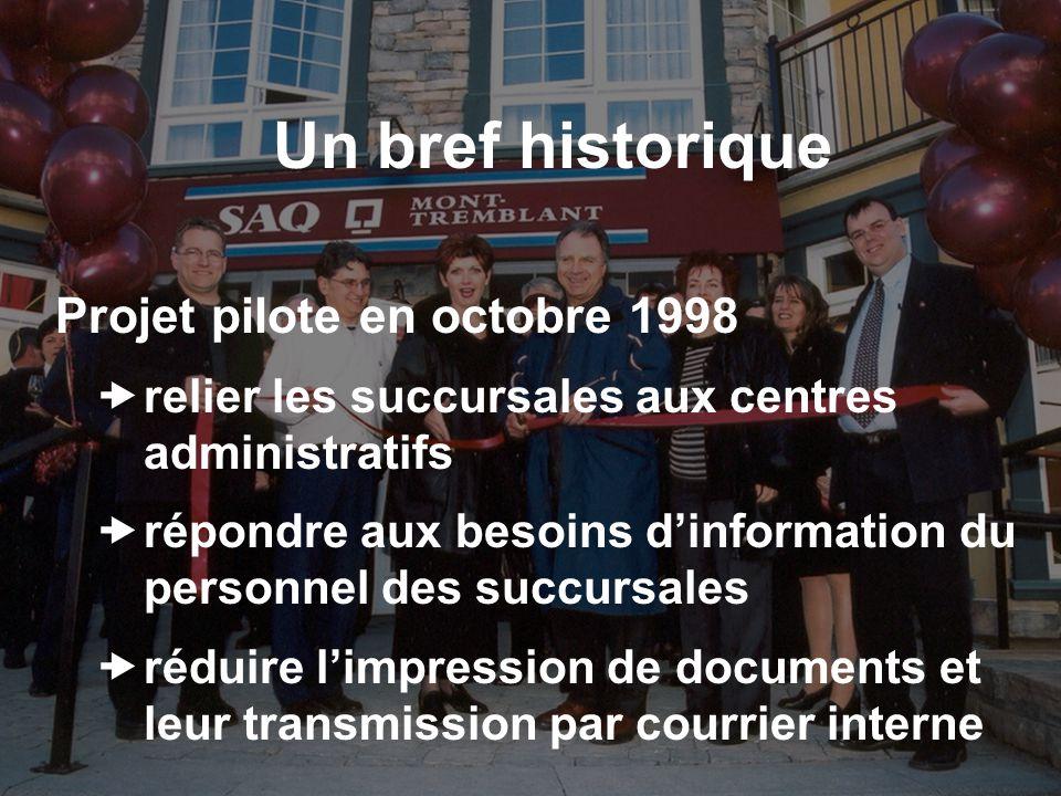 Un bref historique Projet pilote en octobre 1998 relier les succursales aux centres administratifs répondre aux besoins dinformation du personnel des succursales réduire limpression de documents et leur transmission par courrier interne