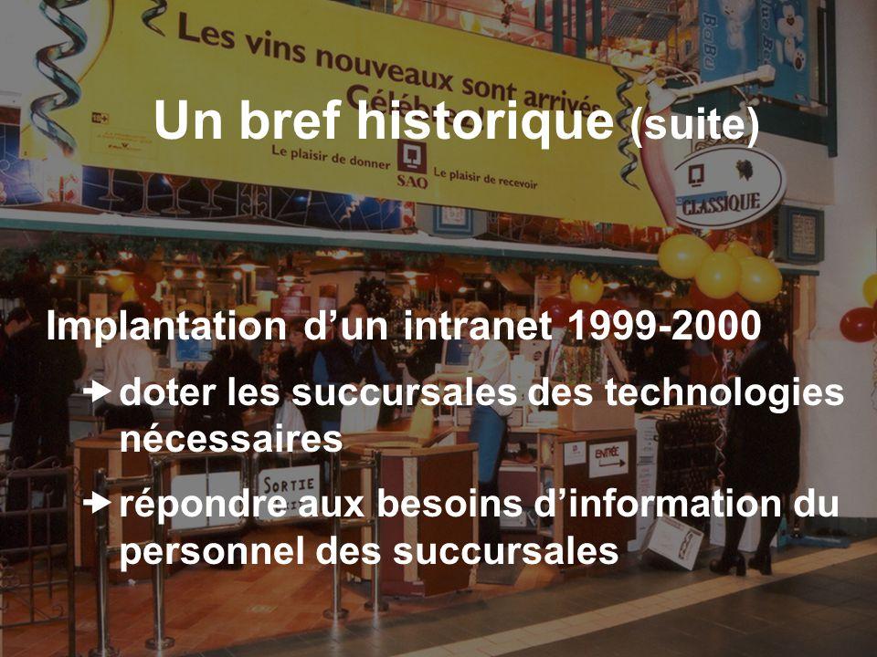 Un bref historique (suite) Nouveau développement en 2001 développer une version plus représentative des activités de la SAQ positionner lintranet comme un centre de consultation et déchange
