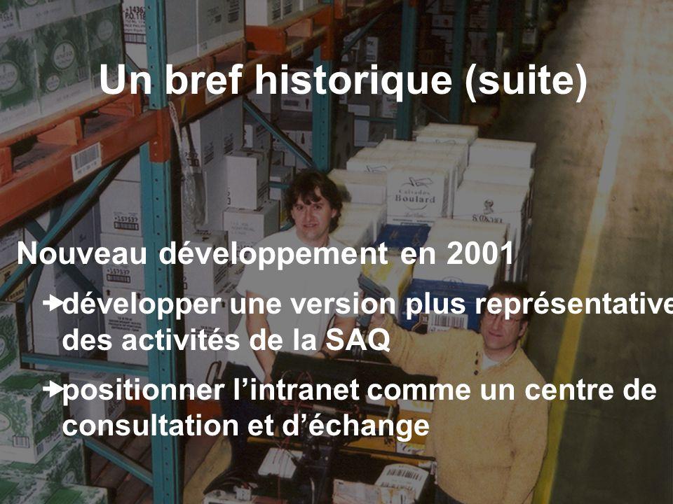 Un bref historique (suite) Nouveau développement en 2001 développer une version plus représentative des activités de la SAQ positionner lintranet comm