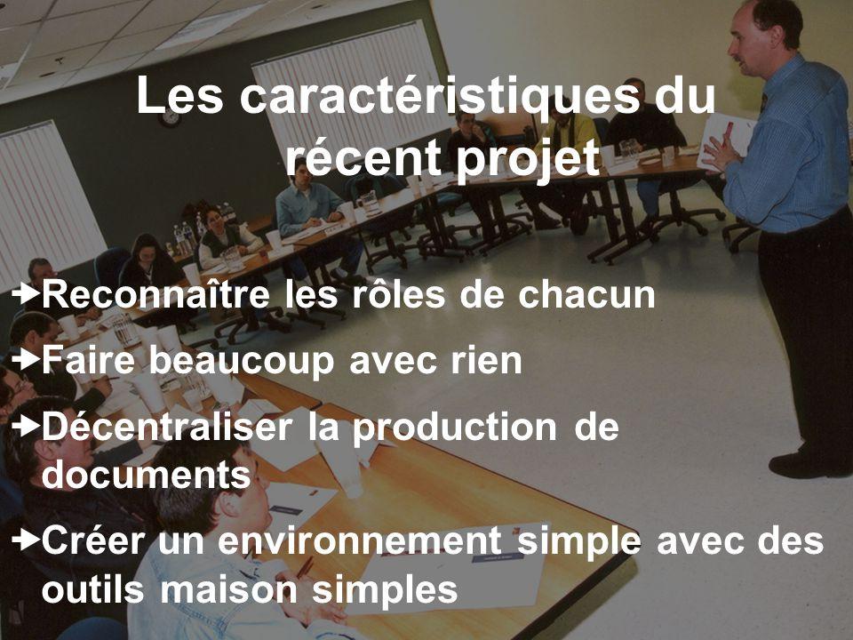 Les caractéristiques du récent projet Reconnaître les rôles de chacun Faire beaucoup avec rien Décentraliser la production de documents Créer un environnement simple avec des outils maison simples
