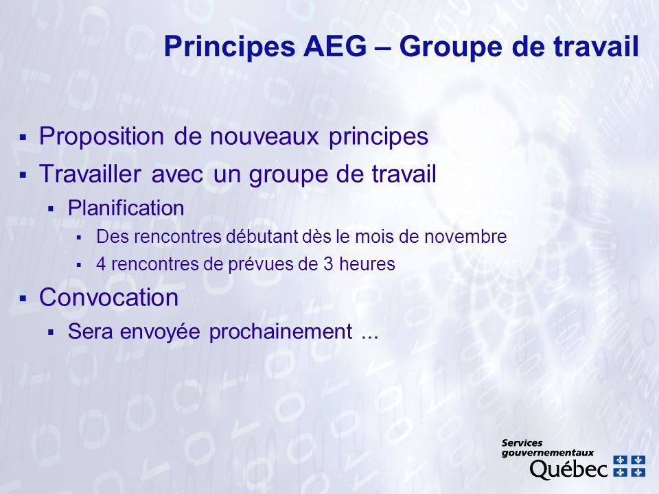 Principes AEG Merci !